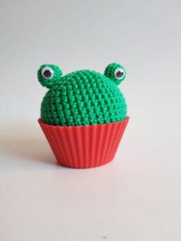 Gehaakte kikker cupcake